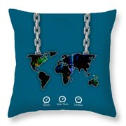 World Map Collection Throw Pillow