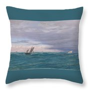 Yachts In A Stormy Sea Throw Pillow