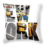 Yellow Cab Speeds Through Times Square In New York, Ny, Usa.  Throw Pillow