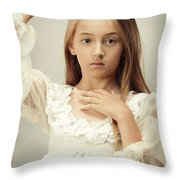 Young Girl Wearing A Crown Throw Pillow