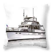 50 Foot Hatteras Motoryacht Throw Pillow