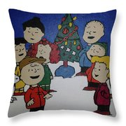 50 Years A Charlie Brown Christmas Acrylic Painting Throw Pillow