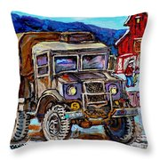 50's Dodge Truck Red Wood Barn Outdoor Hockey Rink  Art Canadian Winter Landscape Painting C Spandau Throw Pillow