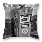 50's Gas Pump Bw Throw Pillow