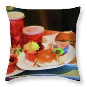 50's Style Food Malt Hamburger Tray  Throw Pillow