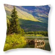 Landscape Painting Acrylic Throw Pillow