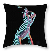 5291s-mak Nude Female Torso Rendered In Composition Style Throw Pillow