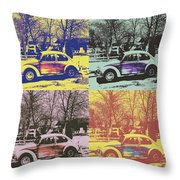 Old Beetle-pop Art Throw Pillow