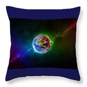 56996 3d Space Scene Colorful Digital Art Earth Throw Pillow