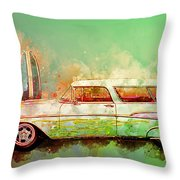 57 Chevy Nomad Wagon Blowing Beach Sand Throw Pillow