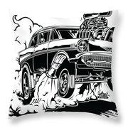 '57 Gasser Cartoon Throw Pillow