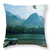 Lijiang River And Karst Mountains Scenery Throw Pillow