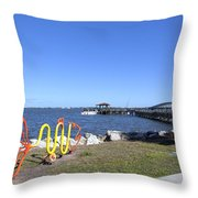 Indian River Lagoon At Eau Gallie In Florida Usa Throw Pillow