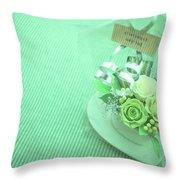 A Gift Of Preservrd Flower And Clay Flower Arrangement, White An Throw Pillow