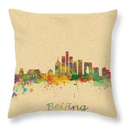 Beijing China Skyline Throw Pillow