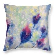 6 Blue Flowers In Breeze Throw Pillow