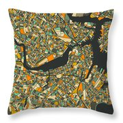 Boston Map Throw Pillow by Jazzberry Blue