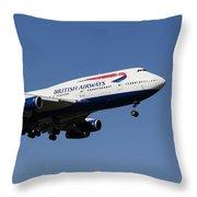 British Airways Boeing 747 Throw Pillow