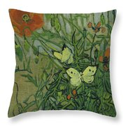 Butterflies And Poppies Throw Pillow