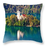 Church Of The Assumption - Lake Bled, Slovenia Throw Pillow