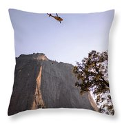 Climber Rescue Operation In Yosemite Throw Pillow
