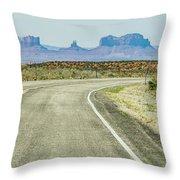 descending into Monument Valley at Utah  Arizona border  Throw Pillow