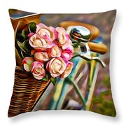 Flower Bike Collection Throw Pillow