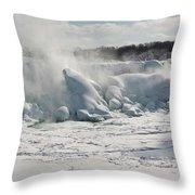 Frozen Niagara Falls Throw Pillow