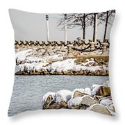 Frozen Winter Scenes On Great Lakes  Throw Pillow