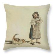 Girl With Cat Throw Pillow