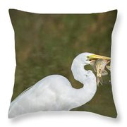 Great Egret With Fish Throw Pillow