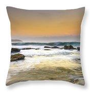 Hazy Dawn Seascape With Rocks Throw Pillow