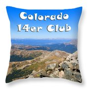Hikers And Scenery On Mount Yale Colorado Throw Pillow