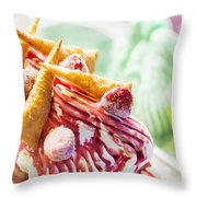 Italian Gelato Gelatto Ice Cream Display In Shop Throw Pillow