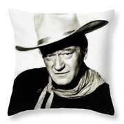 John Wayne, Vintage Actor By Js Throw Pillow