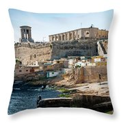 La Valletta Old Town Fortifications Architecture Scenic View In  Throw Pillow