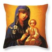 Madonna Enthroned Christian Art Throw Pillow