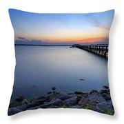 Melbourne Beach Pier Sunset Throw Pillow