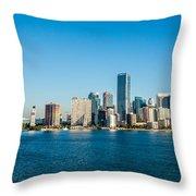 Miami Florida City Skyline Morning With Blue Sky Throw Pillow