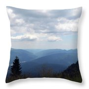 Natural Scenery With Mountains And Cloudy Sky. Throw Pillow