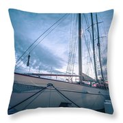Newport Rhode Island Harbor With Tall Ships At Sunset Throw Pillow