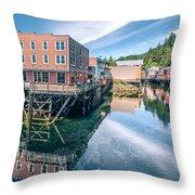 Old Historic Town Of Ketchikan Alaska Downtown Throw Pillow