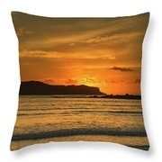 Orange Sunrise Seascape Throw Pillow