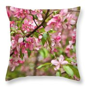 Pink Cherry Tree Throw Pillow