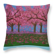 Pink Garden, Oil Painting Throw Pillow