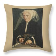 Portrait Of A Lady Holding A Rosary Throw Pillow