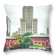 Providence Rhode Island City Skyline In October 2017 Throw Pillow