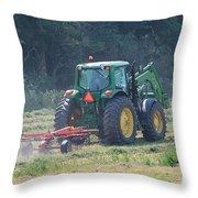 Raking Hay Throw Pillow