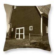 Barn And Wild Flowers Sepia Throw Pillow