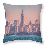 San Francisco California City Skyline At Spring Sunset Throw Pillow